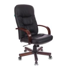 Кресло руководителя Бюрократ Т-9908/WALNUT кожа(black) 870х550х330