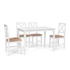 Обеденный комплект эконом Хадсон (стол + 4 стула)/ Hudson Dining Set дерево гевея/мдф, стол: 110х70х75см / стул: 44х42х89см, белый, ткань кор.-зол.