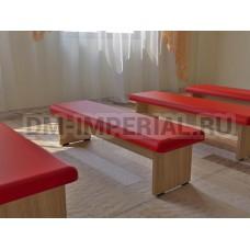 Банкетка мягкая (каркас бук, 3 места) красная
