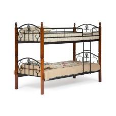 Кровать BOLERO двухярусная дерево гевея/металл, 90*200 см (bunk bed), красный дуб/черный