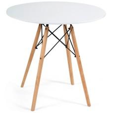 Стол CINDY NEXT мдф/дерево бук/металл, D80х73см, бук/белый