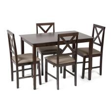 Обеденный комплект эконом Хадсон (стол + 4 стула)/ Hudson Dining Set дерево гевея/мдф, стол: 110х70х75см / стул: 44х42х89см, cappuccino (темный орех), ткань св.-кор.