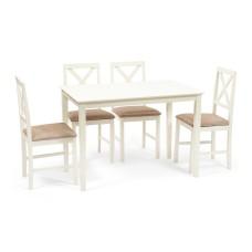 Обеденный комплект эконом Хадсон (стол + 4 стула)/ Hudson Dining Set дерево гевея/мдф, стол: 110х70х75см / стул: 44х42х89см, ivory white (слоновая кость), ткань кор.-зол