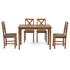 Обеденный комплект эконом Хадсон (стол + 4 стула)/ Hudson Dining Set дерево гевея/мдф, стол: 110х70х75см / стул: 44х42х89см, Espresso, ткань св.-кор. (HE490-02)
