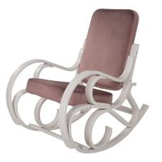 Кресло-качалка Луиза (каркас белый, ткань перламутровый Т55))