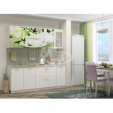 Кухня ПВХ 1,8м фотопечать зеленый чай/белый