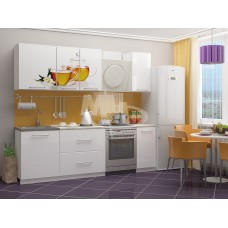 Кухня ПВХ 1,8м Липовый чай, белый (антарес)