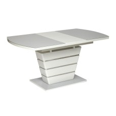 Стол SCHNEIDER ( mod. 0704 ) мдф high glossy, закаленное стекло, 120/160х80х75см, белый (12703)